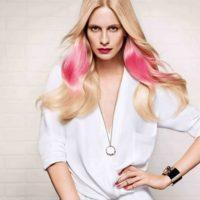 tendance couleur cheveux splashlight rose
